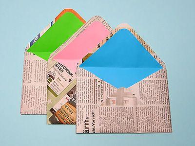 Die besten 17 ideen zu briefumschlag basteln auf pinterest - Bilder mit zeitungspapier ...
