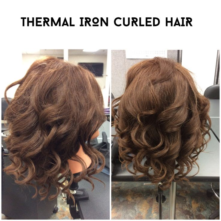 Thermal iron curled hair