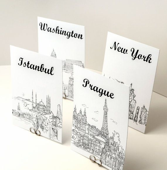 World Travel Theme Table Number Cards - Black and White Sketches of Cities of the World