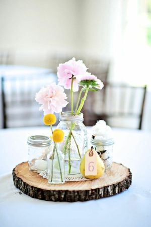 Rustic wedding table setting. Love the table number on the pear, and the pink peonies in the jar. This is what I was envisioning for my table decorations