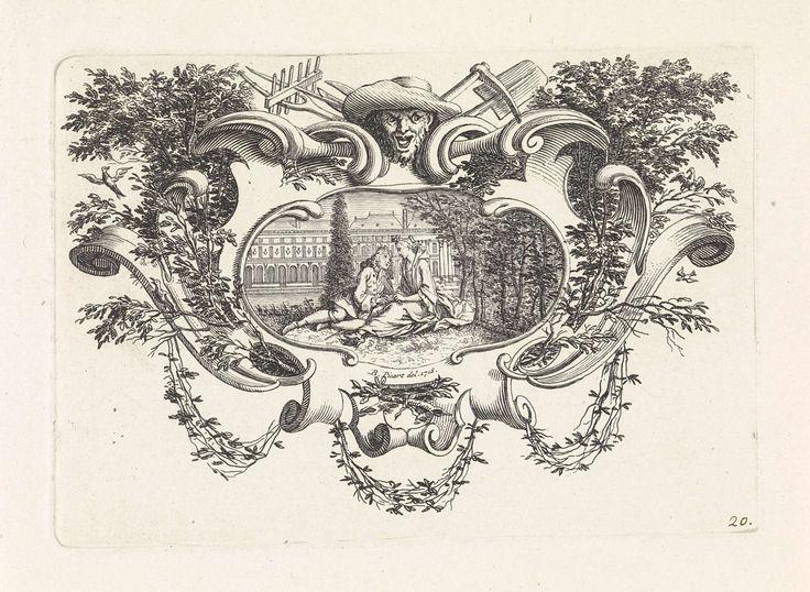anoniem | Liefdespaar in tuin, workshop of Bernard Picart, 1718 | Een paar zit samen in een tuin. Op de achtergrond een paleis. De voorstelling is gevat in een ornamentele lijst met midden boven het gezicht van een tuinman en tuinwerktuigen.