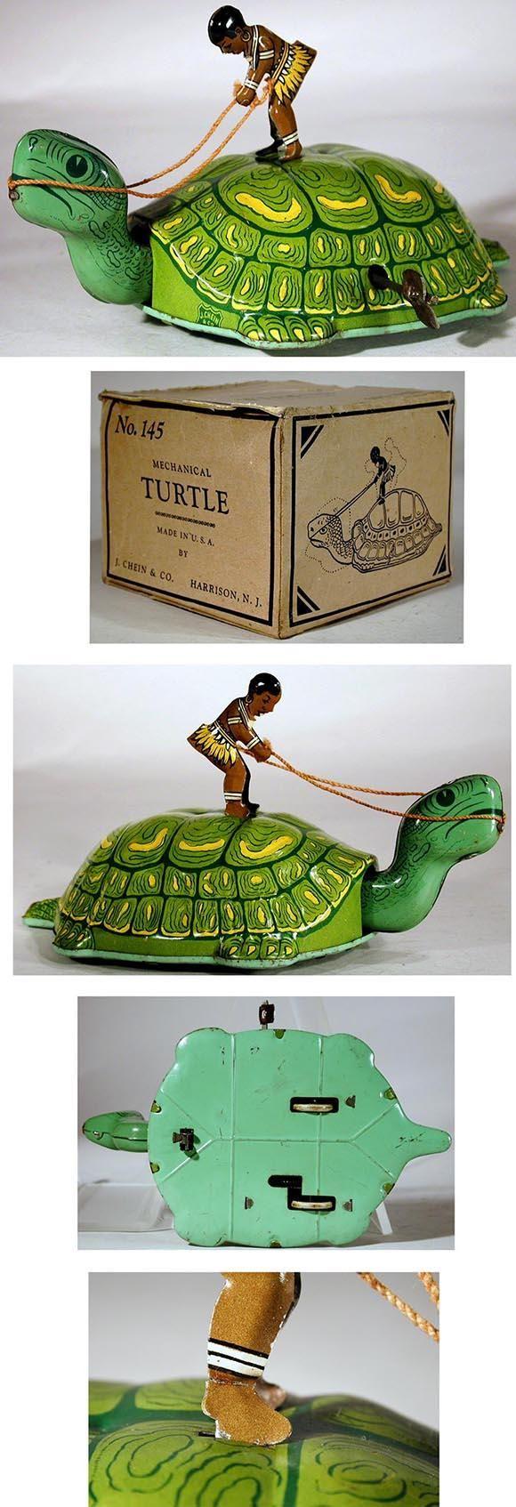 Warning turtles amp tortoises inc - C 1939 Chein No 145 Mechanical Turtle Green In Original Box