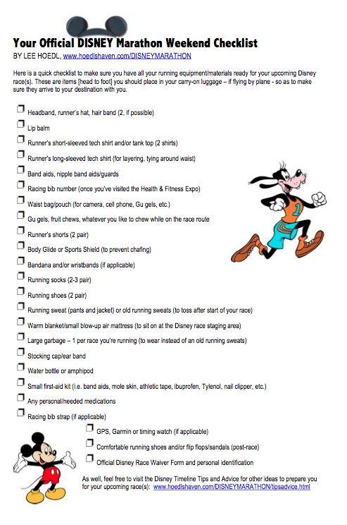 Disney Marathon Weekend Checklist by Lee Hoedl