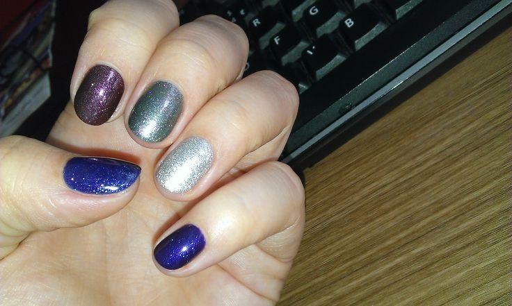 Blue and grey nail polish