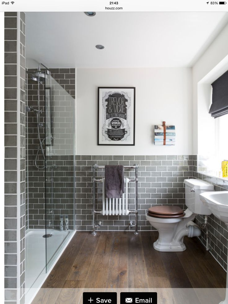 Grey Metro Tiles With Wood Bathrooms Remodel Small Bathroom Traditional Bathroom