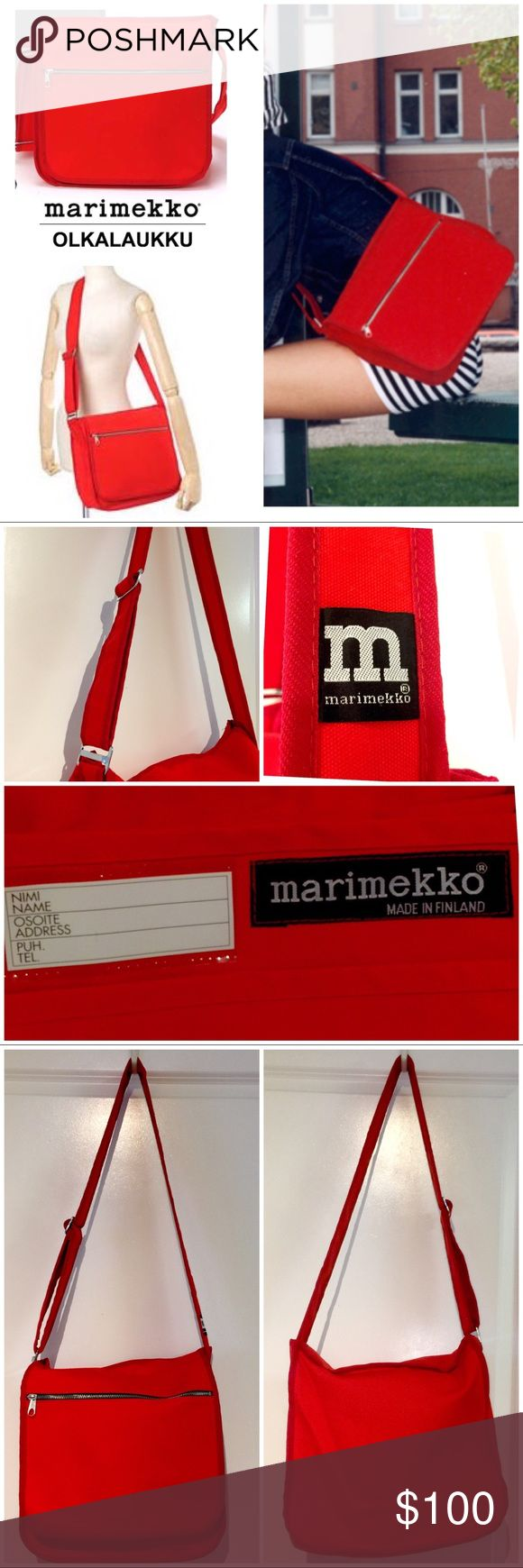 "NEW! Marimekko Red OLKALAUKKU Messenger Bag❤️ NEW! Marimekko OLKALAUKKU Red❤️ Shoulder & Messenger Bag approx:11"" L x 12"" W x 5-1/4"" D  Adjustable shoulder strap: 23"" - 46"" The ultimate messenger bag! 😍Holds your laptop, books, & more in this spacious, 100% cotton canvas bag! Two inside pockets provide organization for smaller items. Front flap features a zip pocket. Brand new- never used no tags. Interior had a sticker removed so a little residue from that left behind- barely noticeable…"