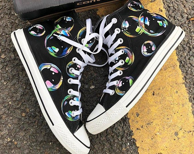 Custom Painted Treble Clef Note Converse, Personalized