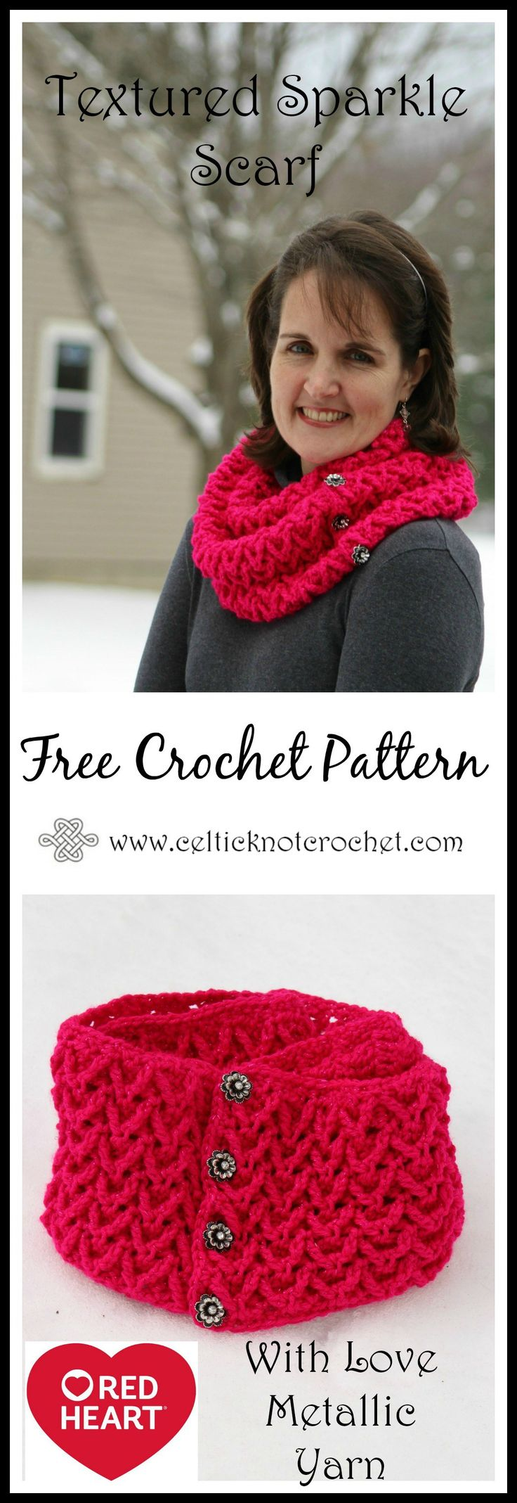 Textured Sparkle Scarf - by Jennifer E Ryan at Celtic Knot Crochet - FREE crochet pattern with a video tutorial!