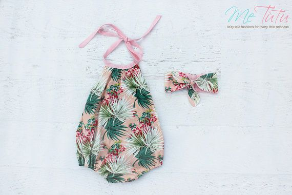 Vintage Boho 'Tropical Floral' Pink Green Pom Pom Romper by MeTutu