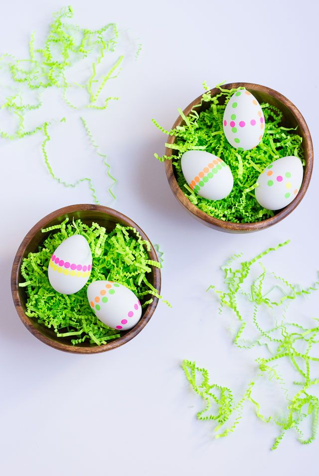Make these modern neon polka dot Easter eggs with office supply stickers!