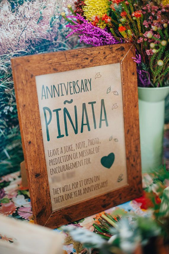 In lieu of a guest book have an anniversary pinata. I love this idea!