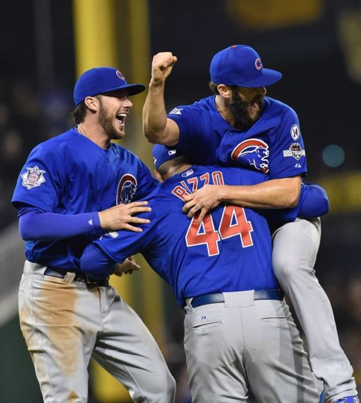 Kris Bryant, Anthony Rizzo, Jake Arrieta, CHC //Cubs Win//NL Wild Card game at PIT /Oct 2015