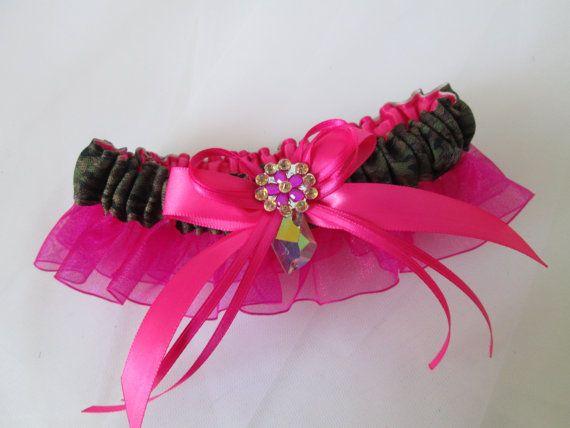 Camo & Hot Pink Prom Garter, Magenta Pink Bridal Garter,  Military / Army Camo Wedding Garter, Country Weddings