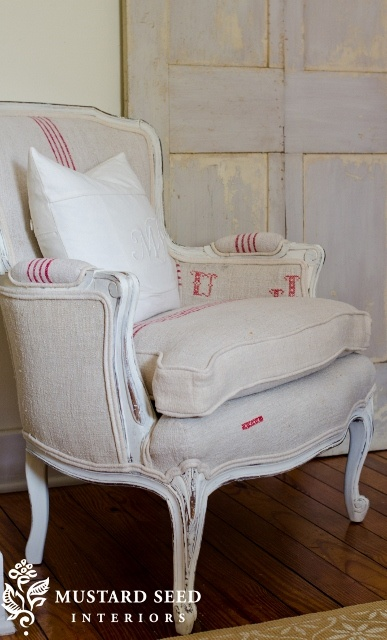 I have this chair, which began life with an orange velvet covers (eww). I like the way I've changed the cushions and upholstery, but this is gorgeous.