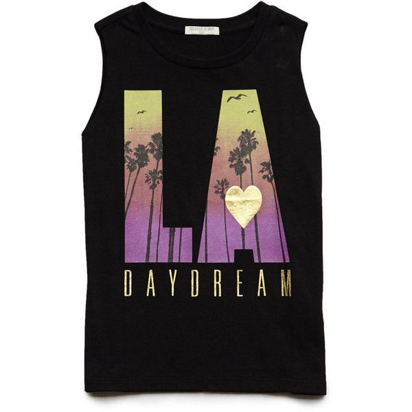 FOREVER 21 GIRLS LA Daydream Muscle Tee (Kids) ($8.80) ❤ liked on Polyvore featuring tops, baby clothes, kids and tank tops