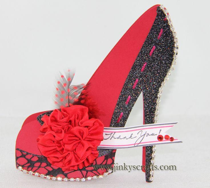 high heel paper shoe template | Red High Heel 3D Thank You Card