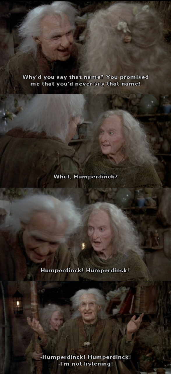 The Princess Bride. Billy Crystal, and I forgot, her name. (Carol Kane, my apologies). Such a good movie on so many different levels.