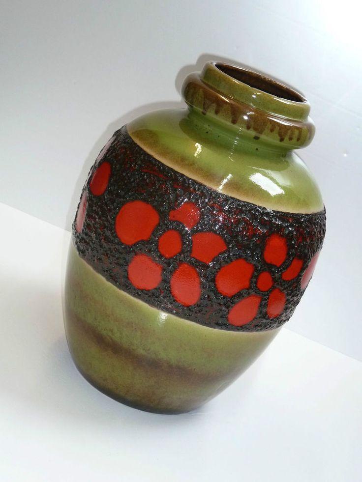SCHEURICH 286-42 VASE fat lava grün schwarz rot 60s 70s vintage floor vase potte  | eBay