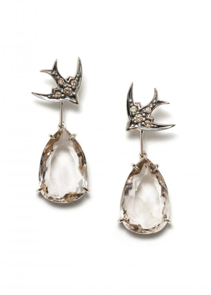 H STERN Rock Fall Earrings in 18K noble gold with smoky quartz and cognac diamonds