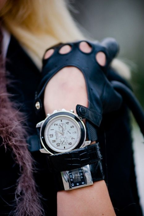 Knuckle gloves and oversized watch