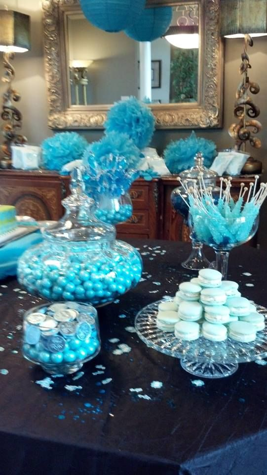 Baby boy baby shower blue baby shower blue candy table for Baby shower decoration kits boy