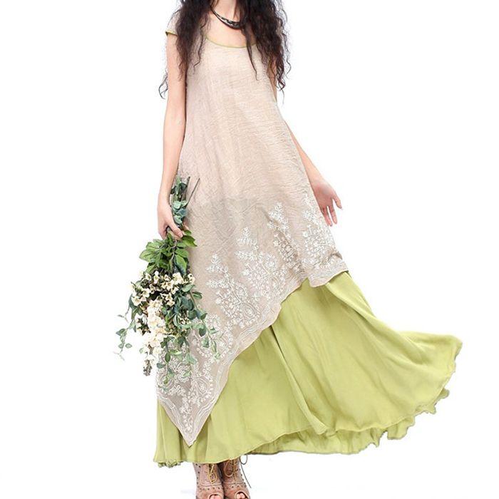 Vintage long green beige patchwork asymmetrical maxi one-piece dress for women summer bohemian boho original ethnic long dress * Visit the image link more details.