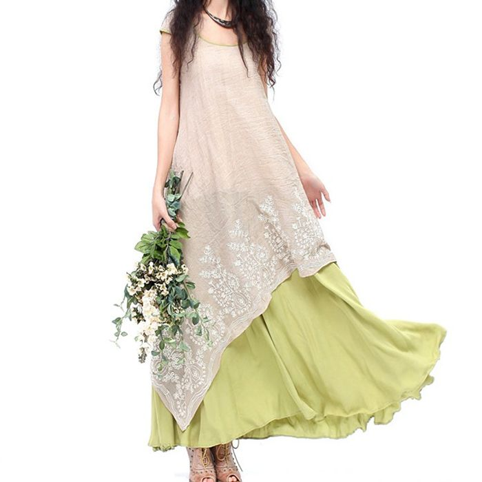 Vintage long green beige patchwork asymmetrical maxi one-piece dress for women summer bohemian boho original ethnic long dress * Visit the image link more details.