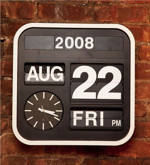 Karlsson Black & White Plastic 16.9 x 16.9 Inch Auto-Flip Calendar Desk-Cum- Wall Clock