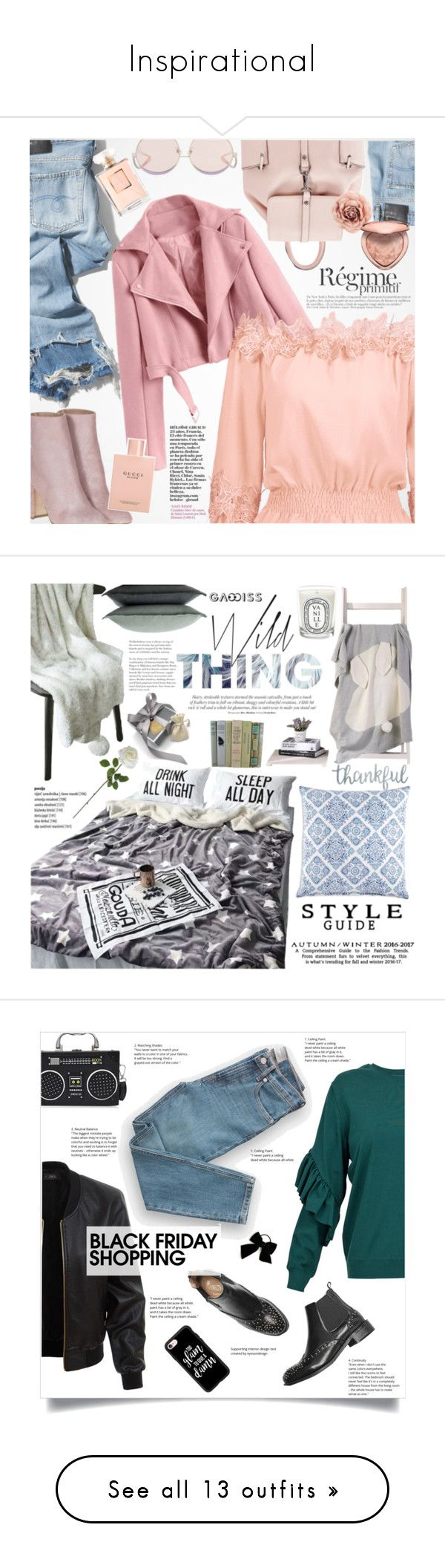 """""""Inspirational"""" by holography ❤ liked on Polyvore featuring R13, Laurence Dacade, N°21, Anja, Gucci, Too Faced Cosmetics, Chanel, polyvoreeditorial, zaful and interior"""