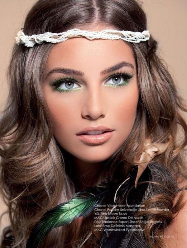 1970s makeup lauren bush western wedding green eyes