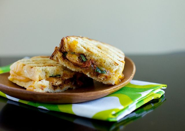 Southwest chicken panini. These were AWESOME. Served with roasted spicy Brussels sprouts. A+++