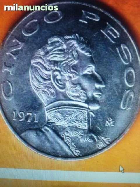 . 22/6/14/4.00 am preciosa moneda antigua mexicana de $5.oo. esta moneda de vicente guerrero salio a la circulaci�n con fecha de 1971 a 1978. es de cupronique, mide 33 melimetros y pesa 14 gramos. anverso, el escudo nacional con el �guila de perfil, tant