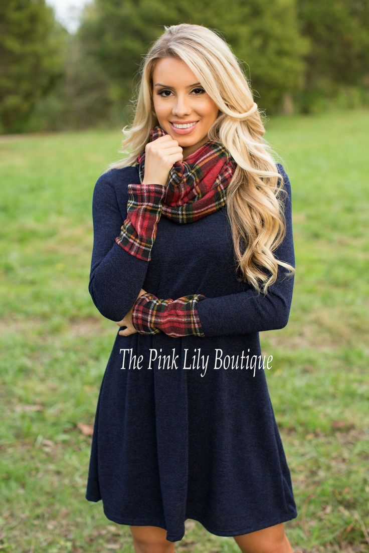 The Pink Lily Boutique - Always Here Navy Plaid Dress With Scarf, $37.00 (http://thepinklilyboutique.com/always-here-navy-plaid-dress-with-scarf/)
