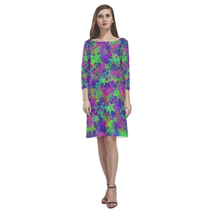 Purple Shooting Stars Rhea Loose Round Neck Dress(Model D22)