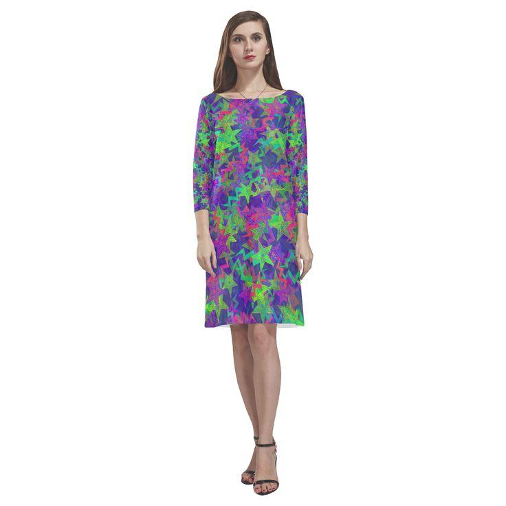 Purple Shooting Stars Rhea Loose Round Neck Dress(Model D22)