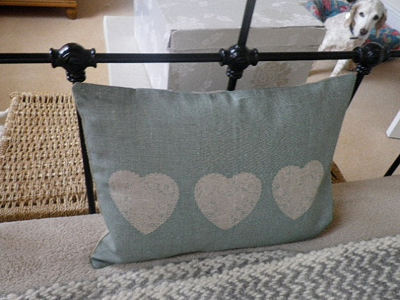 duck egg blue and white printed cushion