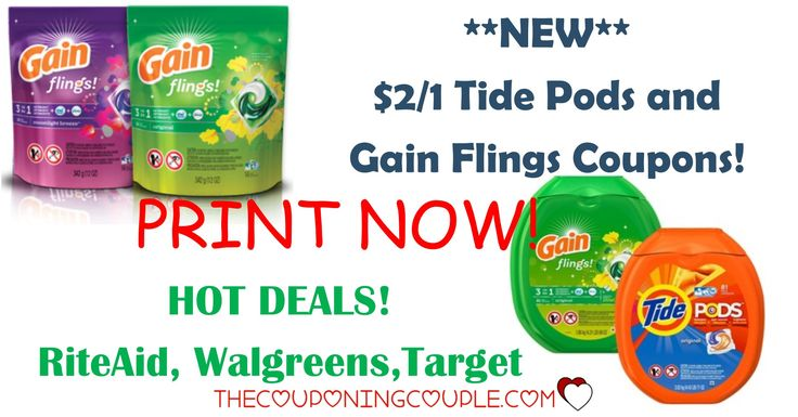 PRINT NOW! Tide Pods Coupon! Gain Flings Coupon!! Get HOT deals at RiteAid, Walgreens and Target!  Click the link below to get all of the details ► http://www.thecouponingcouple.com/new-21-gain-flings-and-tide-pods-coupons-hot-deals/ #Coupons #Couponing #CouponCommunity  Visit us at http://www.thecouponingcouple.com for more great posts!
