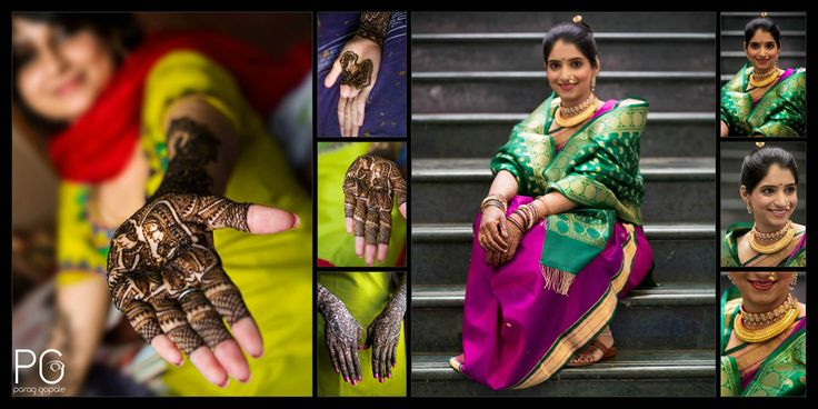 A bridal mehendi in progress on the left & a beautiful Maharashtrian bride on the right, dressed in a 'Nauvaari' (9-yard) saree, 'Nuth' (nosering)