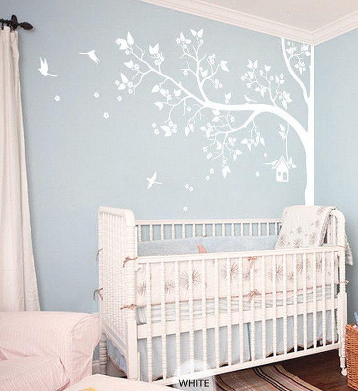 Corner Flower Blossom Bird House Tree Wall Decals Kids Nursery Decor Vinyl Sticker Art Mural