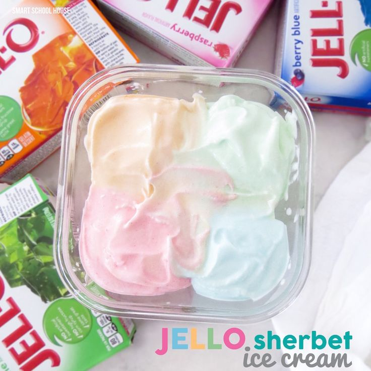 Incredible and easy recipe for JELLO Sherbet Ice Cream. Only 4 ingredients and can be made with or without an ice cream maker!