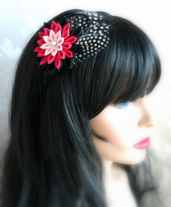 Kanzashi Fabric Flower headband with feathers. Black and pink.