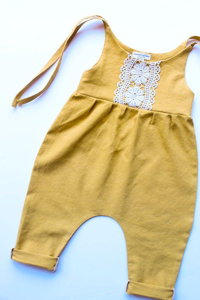 Handmade Linen & Lace Jumpsuit   StandardOfGraceShop on Etsy