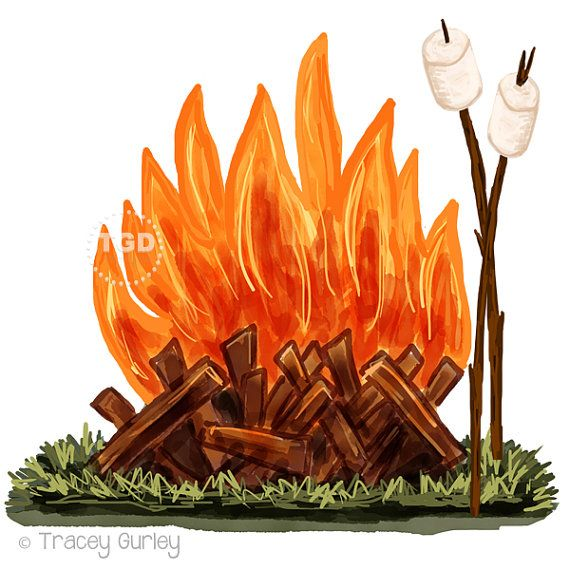 Campfire and Marshmallow Clip Art Original by ...