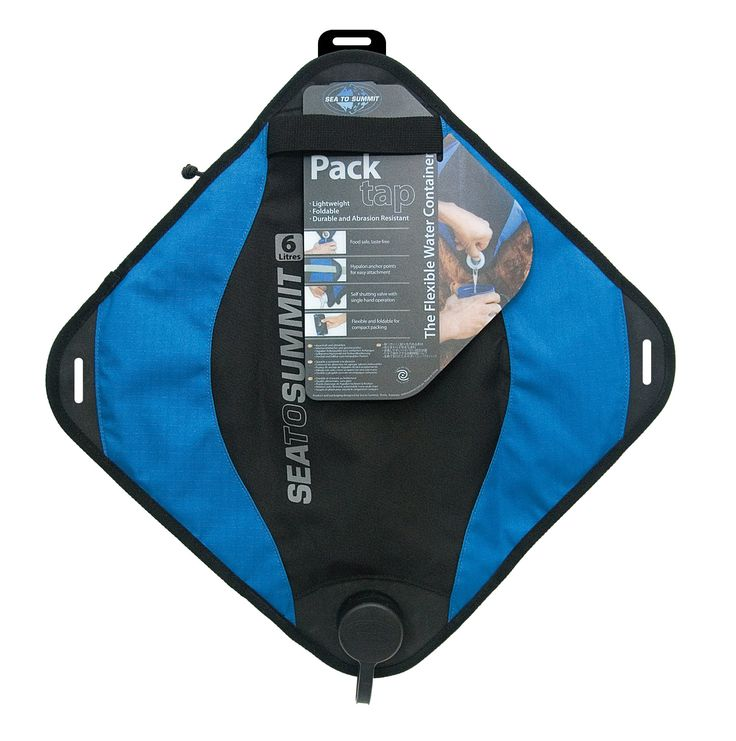 Sea to Summit Pack Tap (6 Liter). Can be rolled and squeezed into tight spaces - the fabrics used are very abrasion resistant and the double bladders will withstand significant pressure. Bladders themselves are Mylar, and are completely after taste-free: they are based on the same material used for wine bladders. 420 D ripstop nylon exterior. Easy one-handed operation.