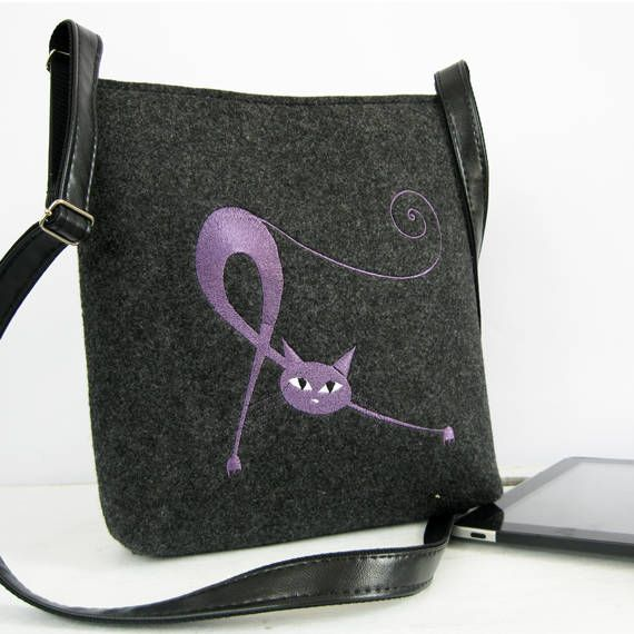 Crossbody BagCat bag hippie bag  Felt shoulder bag Cat