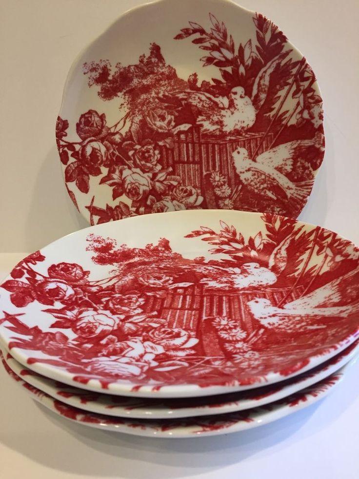 Rosanna Set Four Red Toile Dove Love Birds Roses Wedding Appetizer Plates