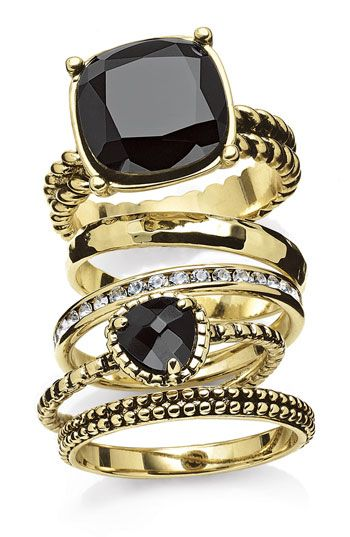 stackable: Stackable Rings, Stone Stackable, Stackable Black, Gorgeous Stack, Gold Rings, Black Gold, Black Diamonds, Jewelry Rings, Bling Bling