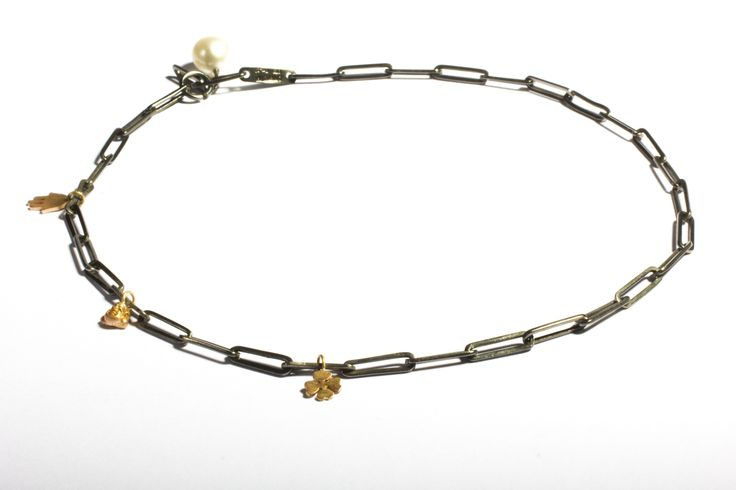 Silver handmade chain with gold elements