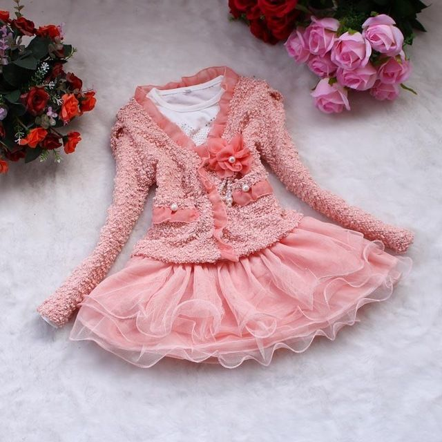We love it and we know you also love it as well Fashion Girls 2 Pieces Set 2017 Baby Kids Winter Dress Clothes Long Sleeve Overcoat + Tutu Dresses Pink and White Girls Dresses just only $11.81 with free shipping worldwide  #girlsclothing Plese click on picture to see our special price for you
