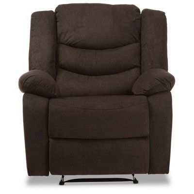 Lynette Modern and Contemporary Godiva Fabric Power Recliner Chair - Brown - Baxton Studio